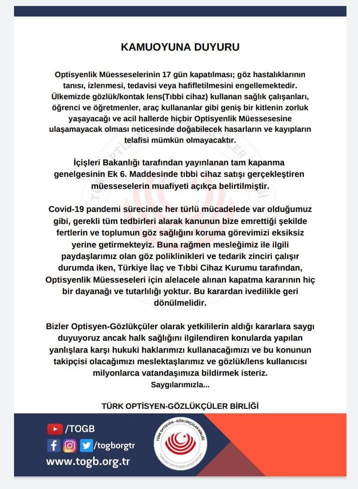Türk Optisyen Gözlükçüler Birliği Duyuru!